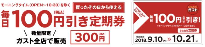 【期間限定】ガスト「毎日100円引き」定期券