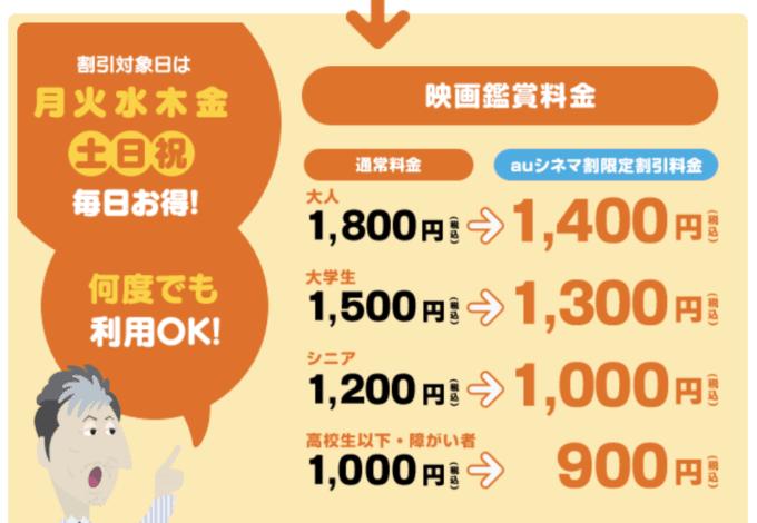 【会員限定】auスマートパス・ビデオパス「大人1400円」クーポン