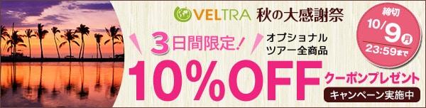 【3日間限定】VELTRA(ベルトラ)限定ツアー「10%OFF」割引クーポン