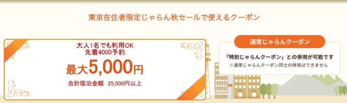 【先着限定】じゃらん「最大5000円OFF」東京在住者限定クーポン