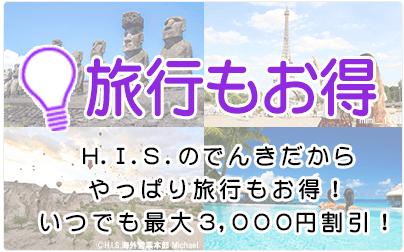 【HISでんき限定】H.I.S.(エイチ・アイ・エス)「最大3000円OFF・5%OFF」割引クーポン