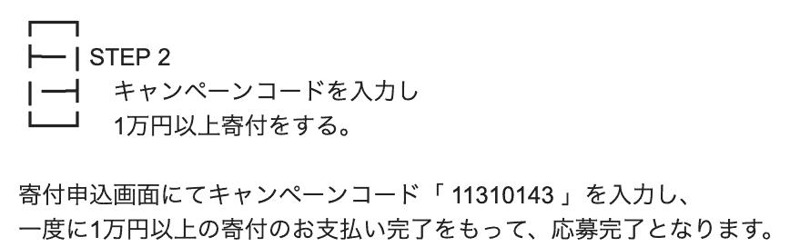 キャンペーンコードを入力し1万円以上寄付をする。 寄付申込画面にてキャンペーンコード「 11310143 」を入力し、 一度に1万円以上の寄付のお支払い完了をもって、応募完了となります。