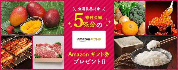 【期間限定】ふるさと本舗「Amazonギフト券5%OFF」割引キャンペーンコード【AMAFH05】