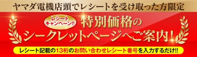 【レシート受け取った方限定】ヤマダ電機(YAMADAモール)「特別価格」シークレットページ