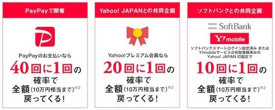 【期間限定】paypay(ペイペイ)「40回・20回・10回に1回全額無料」キャッシュバック抽選確率UPキャンペーン