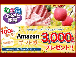 【期間限定】わが街ふるさと納税「3000円OFF」Amazonギフト券キャンペーン