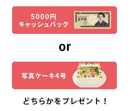 【期間限定】Cake.jp(ケーキジェーピー)「5000円OFF・写真ケーキ4号」無料・キャッシュバックプレゼント