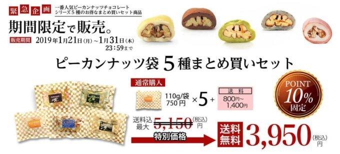 【期間限定】サロンドロワイヤル「10%OFF」ピーカンナッツ5種まとめ買いセット
