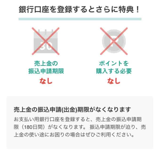 【銀行口座登録特典】メルペイ「売上金の振込申請期限(180日間)なし」