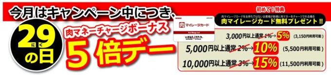 【肉の日(毎月29日)限定】いきなりステーキ「肉マネーチャージボーナス5倍デー(15%OFF)」キャンペーン