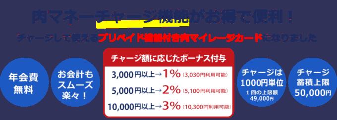 【肉マイレージカード限定】いきなりステーキ「1%OFF・2%OFF・3%OFF」チャージ機能