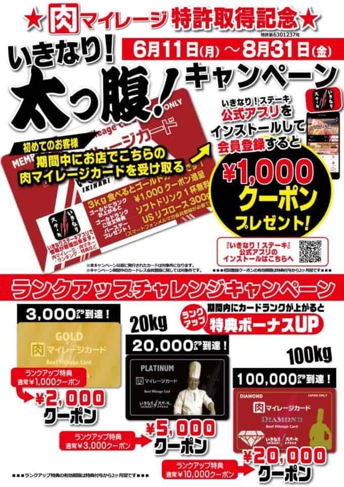 【肉マイレージ特許取得記念限定】いきなりステーキ「1000円OFF」割引クーポンプレゼント