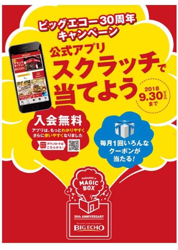 【30周年限定】ビッグエコー「A賞3時間室料無料」クーポン