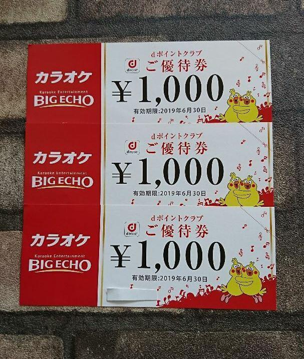 【dポイントクラブ限定】ビッグエコー「1000円OFF」ご優待券