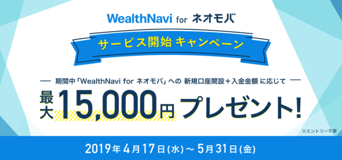 【期間限定】SBIネオモバイル証券「最大1万5000円」WealthNaviキャンペーン