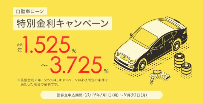 【期間限定】住信SBIネット銀行「自動車ローン1.525%~3.725%」特別金利キャンペーン