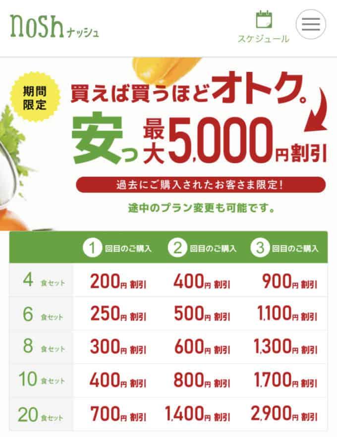 【期間限定】nosh(ナッシュ)「最大5000円OFF」割引キャンペーン