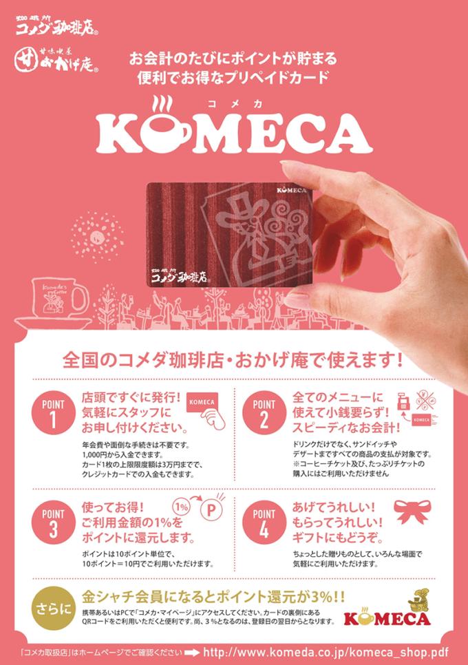 【コメカ限定】コメダ珈琲「1%OFF・3%OFFポイント還元」プリペイドカード