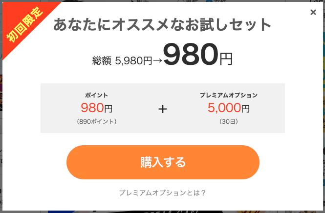 【初回限定】YYC(ワイワイシー)「980円(5000円OFF:ポイント980円+プレミアムオプション5000円)」割引キャンペーン