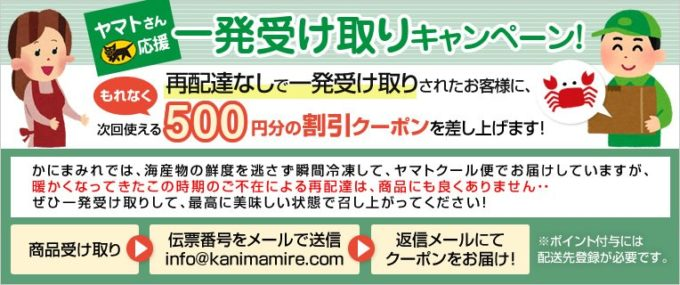 【再配達なし限定】かにまみれ「500円OFF割引クーポン」一発受け取りキャンペーン