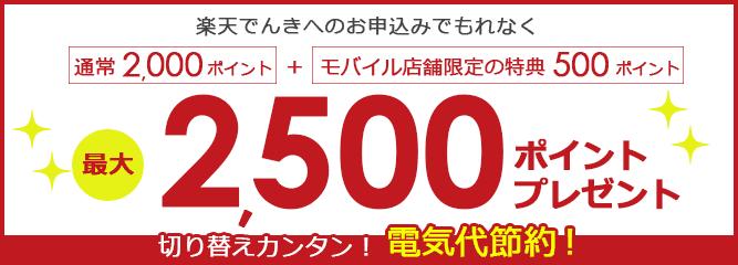 【楽天モバイル店舗コード・招待コード入力限定】楽天でんき「+500ポイント(最大2500ポイント)」割引キャンペーン