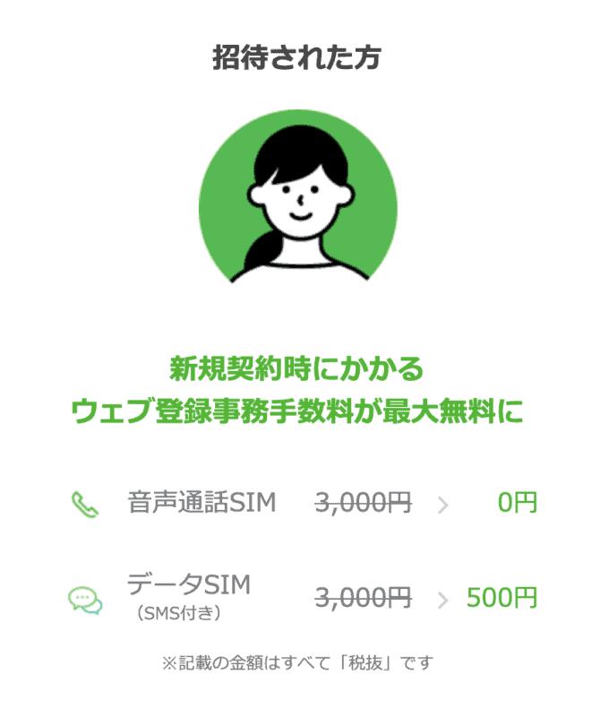【紹介限定】LINEモバイル「ウェブ登録事務手数料無料」招待キャンペーン