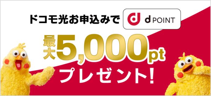【期間限定】ドコモ光「最大5000円分dポイント」プレゼントキャンペーン