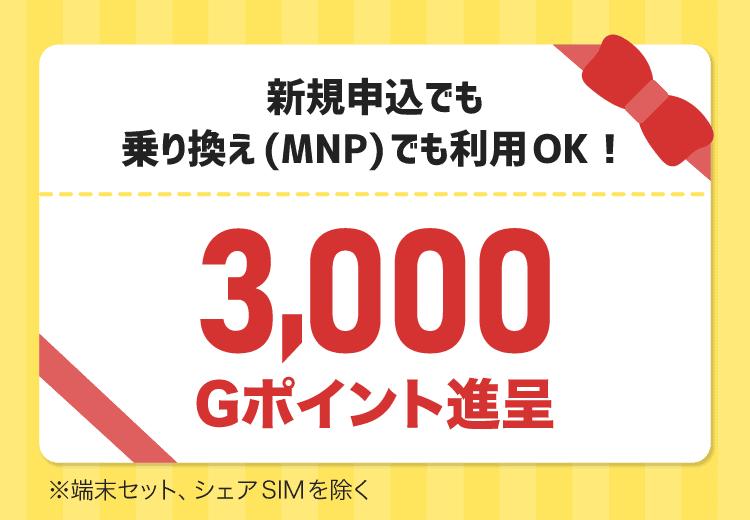 【公式サイト限定】BIGLOBEモバイル「3000Gポイント進呈」クーポンコード