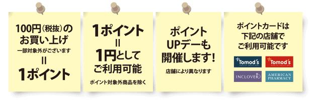 【ポイントカード限定】トモズ(Tomod's)「各種」割引ポイント