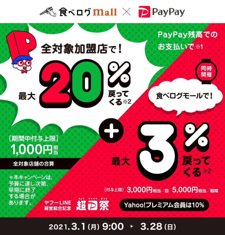 【PayPay限定】食べログモール「各種還元」キャンペーン