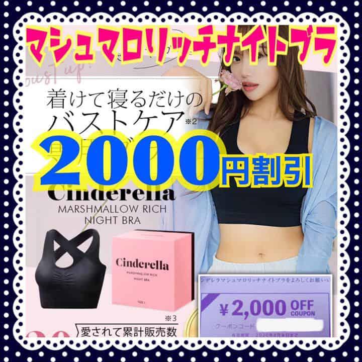 【オークション・フリマ】シンデレラマシュマロリッチナイトブラ「2000円OFF」クーポンコード